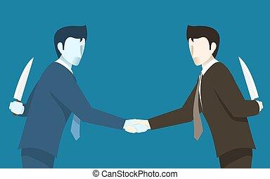 שניהם, מושג, עסק, אחר, אנשים., רעיון, רע, בגוד, כל אחד, איש עסקים
