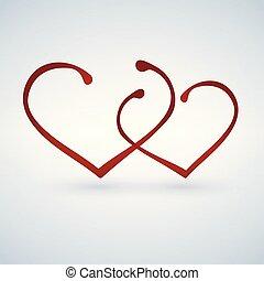 שני, hearts., שמח, ולנטיינים, day.