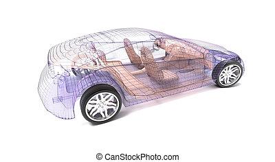 שקוף, מכונית, עצב, חוט, model.3d, illustration., שלי, בעל, מכונית, design.