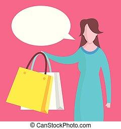 שקיות, קניות של אישה, דירה, bubble., מכירה, דוגמה, וקטור, נאום, קניות, concepts., design.