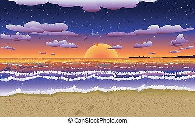 שקיעה, ב, חוף טרופי