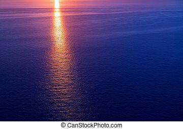 שקיעה, מעל, ים תיכוני, עלית שמש, ים