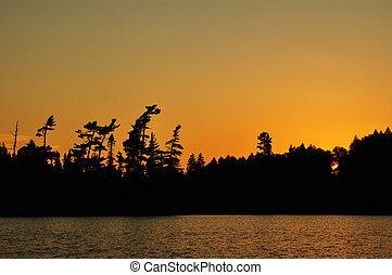 שקיעה, רחוק, אגם, מידבר