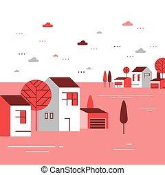 תבל, שכונה, דיורי, יפה, קבוצה קטנה, קטנטן, בתים, כפר, סתו, כפר, הבט