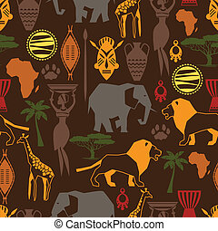תבנית, אפריקני, seamless, icons., סגנן, אתני