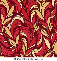 תבנית, נוצות, seamless, זהב, אדום