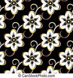 תבנית פרחונית, שחור, seamless