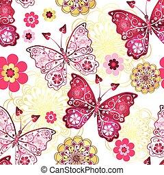 תבנית, פרפרים, seamless, בציר