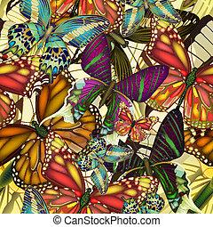 תבנית, צבעוני, butterflies., seamless, eps10