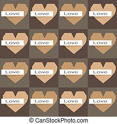תבנית, seamless, דוגמה, ראטרו, לבבות, וריגאמי, monocrom
