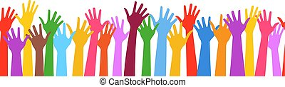 תבנית, seamless, וקטור, שיתוף פעולה, ידיים, אופקי