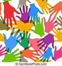 תבנית, seamless, וקטור, שיתוף פעולה, רקע, ידיים