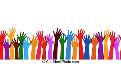 תבנית, seamless, וקטור, שיתוף פעולה, שקיפות, ידיים, אופקי