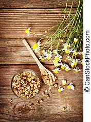 תה, פרחים, קמומיל, יבש, טרי
