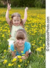 תחום, ילדים, flower.