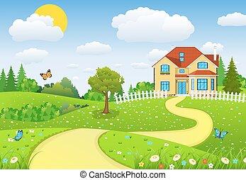 תחומים, גבעות, נוף, כפרי