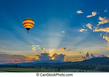 תחומים, מעל, הבלט, חם, שקיעה, balloon