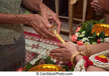 תיילנדי, טקס של חתונה, -, כלה, להתפלל, ל, מים קדושים