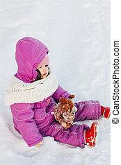 תינוקת, השלג, לשבת
