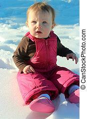 תינוקת, נחמד, השלג, לשבת