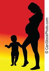 תינוקת, צללית, בהריון