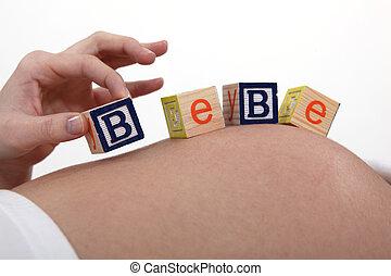 תינוק, אישה, מכתבים, בטן, בהריון
