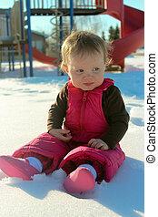 תינוק, נחמד, השלג, לשבת