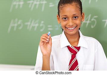 תלמידה, גיר, ראשי, להחזיק