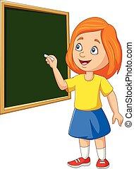 תלמידה, לוח, ציור היתולי, לכתוב