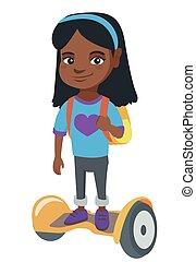 תלמידה, רכוב, school., gyroboard, אפריקני