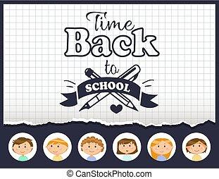 תלמידים, בית ספר, השקע, וקטור, זמן, חינוך
