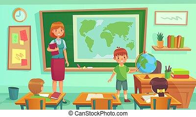 תלמידים, שיעור, ללמד, תלמיד, room., globe., להראות, אישה, סוג, ארץ, גיאוגראפיה, מורה