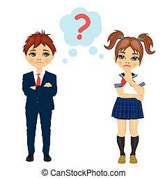 תלמיד, בעלת, לחשוב, סימן שאלה, תלמידה, משהו, דרך, למצוא, חתום, או, out