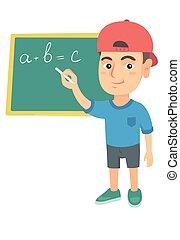 תלמיד, blackboard., קוקאייזיאני, לכתוב