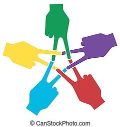 תמוך, אצבע, ציין, פעולות, סמלי, שלום, פורומים, כוכב מחומש, העבר, אחדות