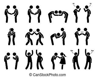 תנועות, פגישה, etiquette., דש, אנשים