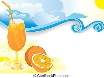 תפוז, וקטור, קיץ, שתה