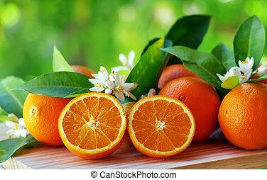 תפוז, שולחן, פרחים, פירות