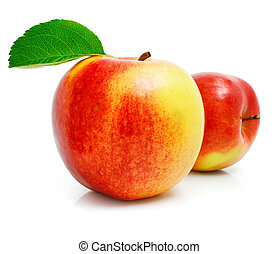 תפוח עץ אדום, פרי, עם, ירוק עוזב