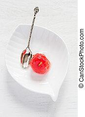 תפוח עץ, בשל, מתוק, רקע., לבן, סירופ