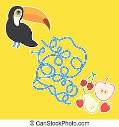 תפוח עץ, לבירינת, דובדבן, אגס, צהוב, תות שדה, משחק, וקטור, טאוכאן, רקע, children., צפור, לפני בהס