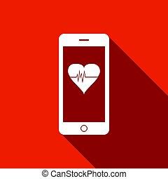 תפקד, לב, smartphone, צפה, דירה, ארוך, הערך, וקטור, דוגמה, shadow., איקון