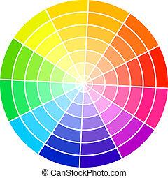 תקן, צבע, גלגל, הפרד, בלבן, רקע, וקטור, illustration.
