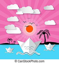 תקציר, וקטור, אוקינוס של שקיעה, רקע, עם, דקל, אי, עננים, ו, צפרים
