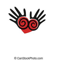תקציר, וקטור, hands., seamless, רקע
