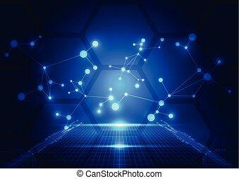 תקציר, טכנולוגיה, כחול, רקע., וקטור, illustration.