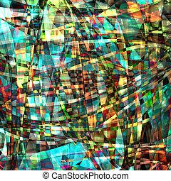 תקציר, כאוטי, תבנית, עם, צבעוני, שקוף, עקום, קוים