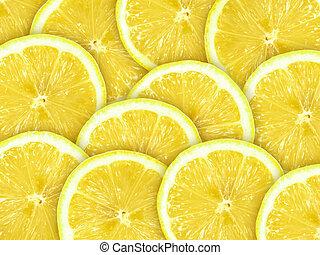 תקציר, פרוסות, לימון, רקע, citrus-fruit