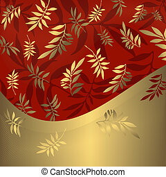 תקציר, פרחוני, אדום, ו, זהוב, הסגר, (vector)