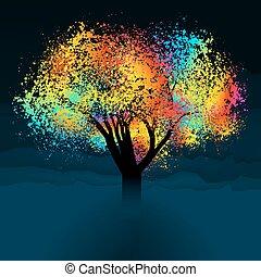 תקציר, צבעוני, עץ., עם, העתק, space., הכנסה לכל מניה, 8
